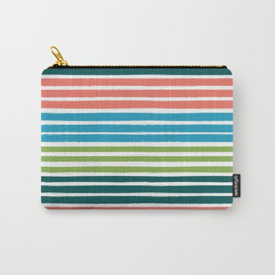 Minimal striped summer tropical pattern blue green happy pattern for beach Carry-All Pouch