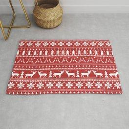 Deer christmas fair isle camping pattern snowflakes minimal winter seasonal holiday gifts Rug