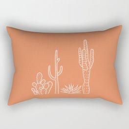 Terracotta cactus illustration white outline art Rectangular Pillow
