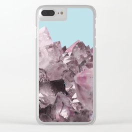 Pink Crystals on Light Blue Clear iPhone Case