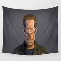 tom selleck Wall Tapestries featuring Celebrity Sunday ~ Tom Waits by rob art | illustration
