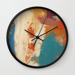 Rustic Orange Teal Abstract Wall Clock