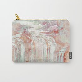 Modern abstract coral pink teal waterfalls Carry-All Pouch