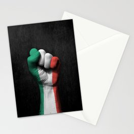Italian Flag on a Raised Clenched Fist Stationery Cards