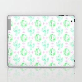 Green and pink watercolor cactus Laptop & iPad Skin