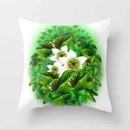 Passion Flowers on Tropical Jungle Throw Pillow