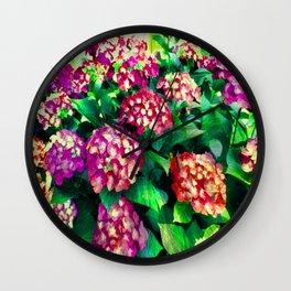 Garden Hydrangea - Raspberry Pink and Lavender Wall Clock