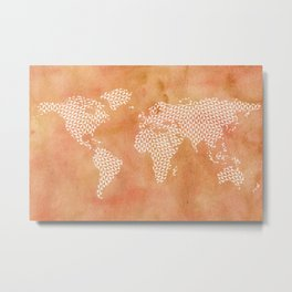 Abstract Gemoetric World Map Metal Print