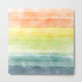 Boho Rainbow breeze_ Abstract Retro_watercolor color block Metal Print