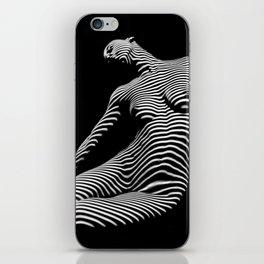0075-DJA Zebra Seated Nude Woman Yoga Black White Abstract Curves Expressive Line Slim Fit Girl iPhone Skin