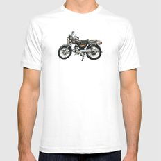 Motorcycle (Red & Black) White MEDIUM Mens Fitted Tee