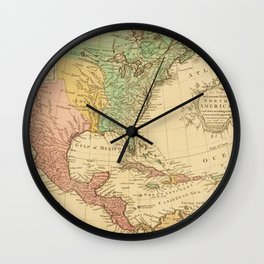 Vintage map of North America Wall Clock