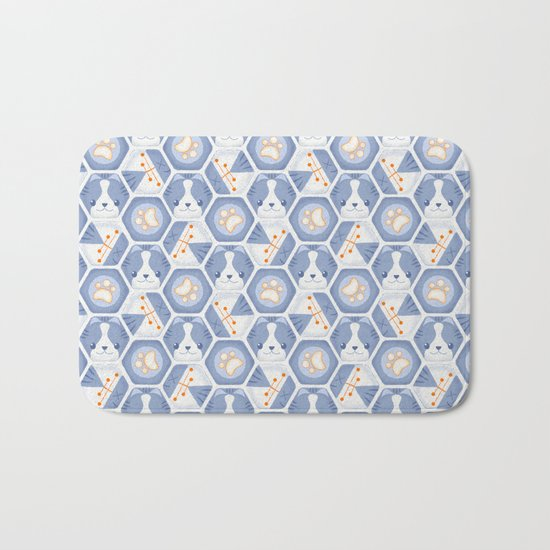 Hexy Cats_Blue Bath Mat