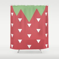strawberry Shower Curtains featuring Strawberry by According to Panda