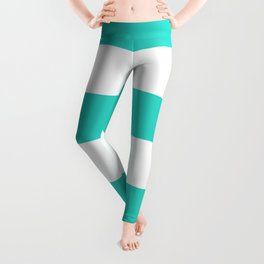 Wide Horizontal Stripes - White and Turquoise Leggings