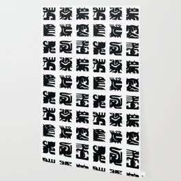 Black and white square monsters Wallpaper