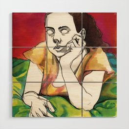 Girl on Red Wood Wall Art