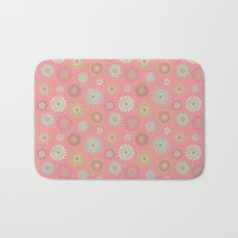 Pressed Flowers in Pink Bath Mat