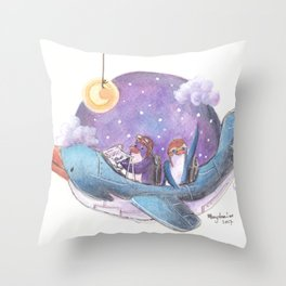 Penguin couple fly a starry purple sky in their penguin airplane! Throw Pillow