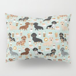 Dachshund coffee lover must have pet gifts dachsie doxie dog weener dog Pillow Sham
