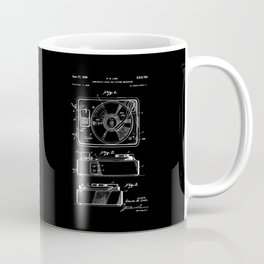 Turntable Patent - White on Black Coffee Mug