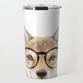 Shiba inu with glasses Dog illustration original painting print Travel Mug