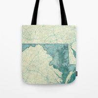 maryland Tote Bags featuring Maryland State Map Blue Vintage by City Art Posters