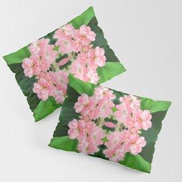 Fresh Rose Quartz color Kalanchoe flowers surreal shaped symmetrical kaleidoscope Pillow Sham