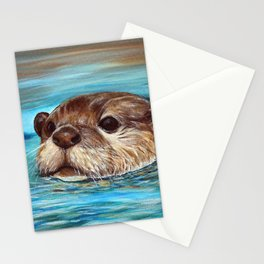 River Otter Painting Stationery Cards