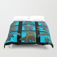 kaiju Duvet Covers featuring Kaiju Aren't So Scary by Sempaiko