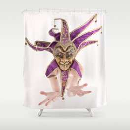 1387s-MM Jester Mask on a Implied Nude Fine Art Model Shower Curtain