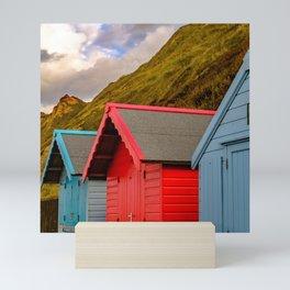 Trio of traditional beach huts Mini Art Print