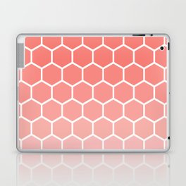 Coral pink gradient honey comb pattern Laptop & iPad Skin