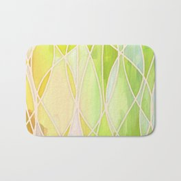 Lemon & Lime Love - abstract painting in yellow & green Bath Mat