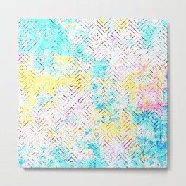 Abstract Geometric Tile Pattern in Pastel CMYK Metal Print