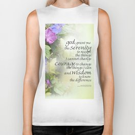 Serenity Prayer Morning Glories Glow Biker Tank