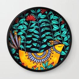 Calm Bird in Flowers Wall Clock