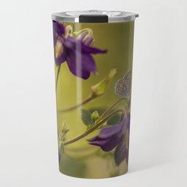 Purple columbine flowers with small butterfly Travel Mug