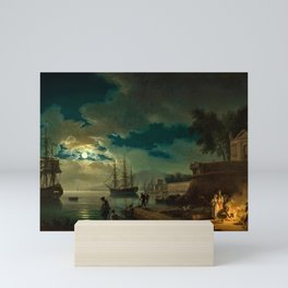 Night, A Port in Moonlight by Claude Vernet Mini Art Print
