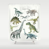 dinosaurs Shower Curtains featuring Dinosaurs by Amy Hamilton