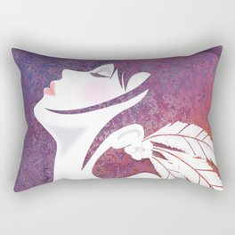 Lady with Feathers Rectangular Pillow