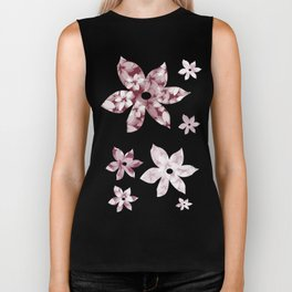 Pink and White Tropical Flowers Biker Tank