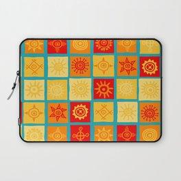 Sun symbols on squares seamless background Laptop Sleeve
