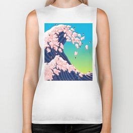 Christmas Baby Pigs The Great Wave in Blue Biker Tank
