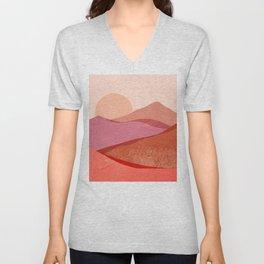 Abstraction_SUNSET_Mountains_Landscape_Minimalism_001 Unisex V-Neck