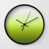 lime green Wall Clocks featuring Lime Green by *deim lacquer
