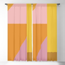 Shapes in Vintage Modern Pink, Orange, Yellow, and Lavender Blackout Curtain