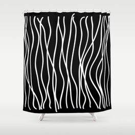 White lines on black background Shower Curtain