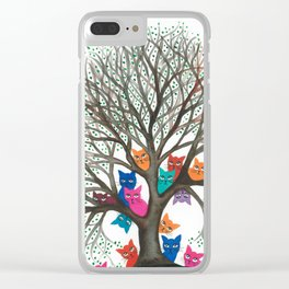 Connecticut Whimsical Cats in Tree Clear iPhone Case