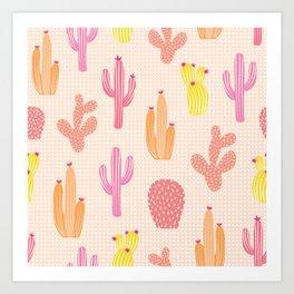 Colorful cactus desert illustration pattern Art Print